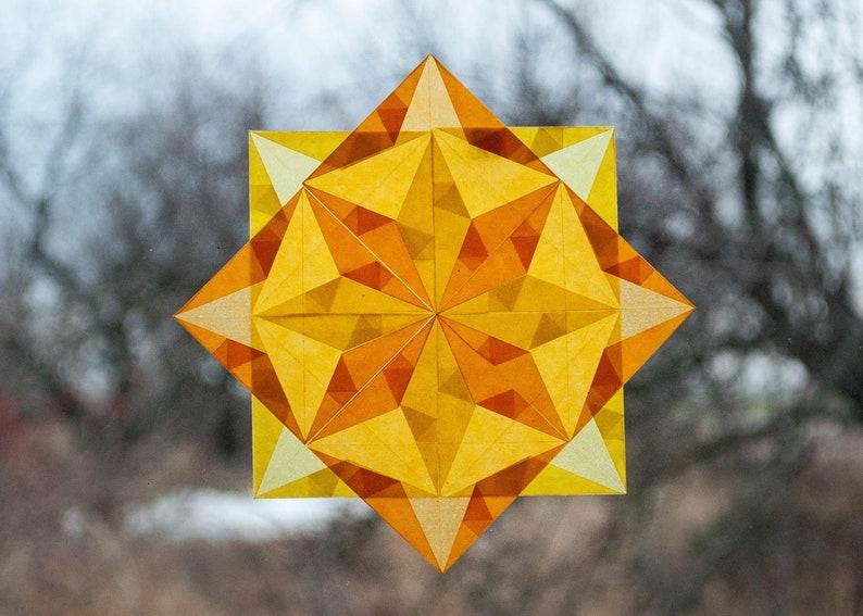 origami ornaments, nursery wall decal kite paper mandala geometric design yellow  Stars Waldorf Window Stars transparent paper