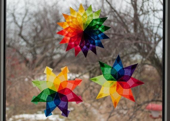 Waldorf Fenster Sterne Set 3 Regenbogen Sterne Weihnachten Aufkleber Drachen Papier Weihnachtsstern Transparentpapier Origami Ornamente Fenster