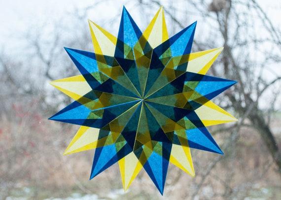 Waldorf Fenster Sterne Blau Gelb Fensteraufkleber Weihnachten Kite Papier Weihnachtsstern Transparentpapier Origami Ornamente Fenster Aufkleber