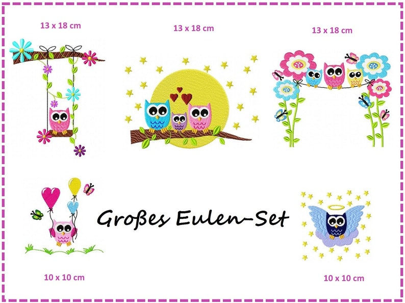 Large Owl Set Embroidery files image 0
