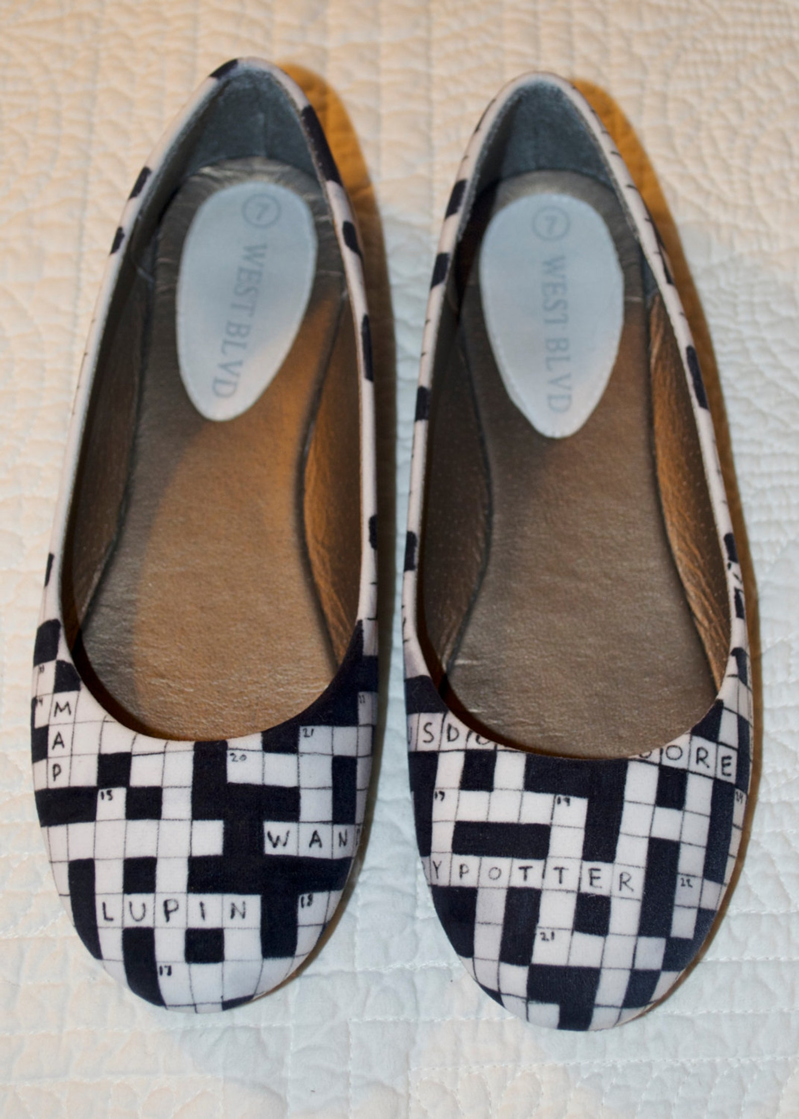 custom crossword puzzle ballet flats