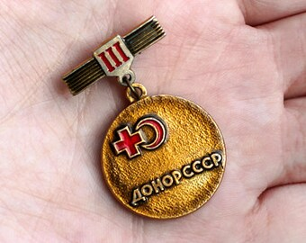 1970s 1980s soviet vintage / USSR blood donor of third degree enamel pin / metal medal / badge of honor