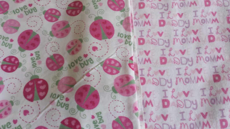 Baby Girl Revesible Receiving Blanket with 3 Burping Pads Made to Order