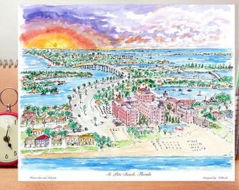 St. Pete Beach, FL , Florida Saint Petersburg , beautiful watercolor , wall art ,Florida decor ,print ,designed by awarded Artist