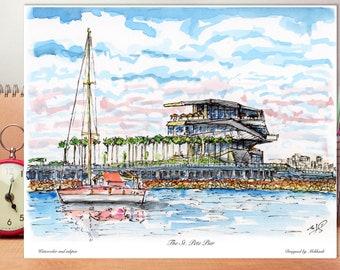 The St. Pete Pier, St. Petersburg Florida, Florida Saint Petersburg, watercolor, wall art ,Florida decor ,print ,designed by awarded Artist