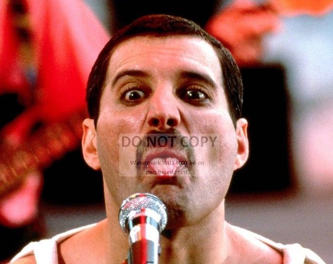 "Freddie Mercury, Lead Singer for the Rock Band ""Queen"" Sticking Tongue Out - 5X7, 8X10 or 11X14 Publicity Photo (RT-402)"