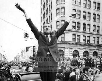 President Richard Nixon Stands on a Car Hood in Savannah, Ga - 5X7, 8X10 or 11X14 Photo (CC940)