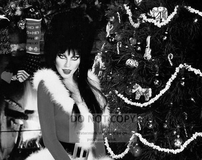 Elvira, Mistress of the Dark - 5X7 or 8X10 Christmas Publicity Photo (OP-992)