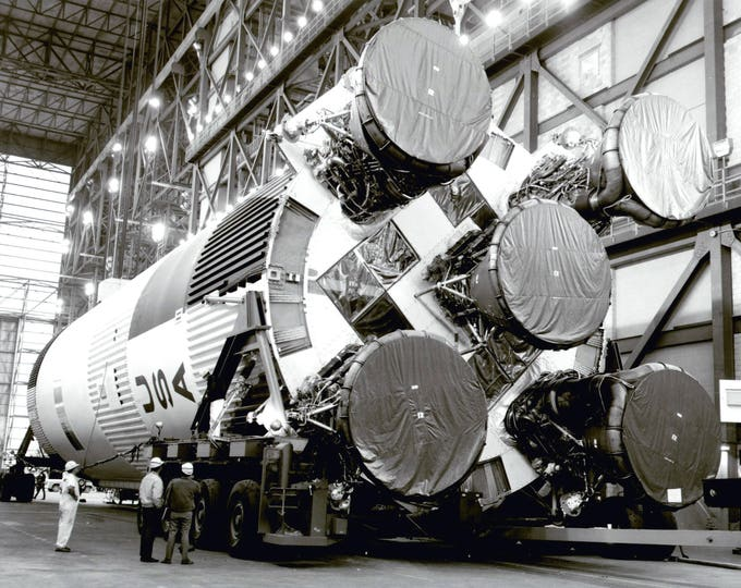 S-1C Booster for the Apollo 11 Saturn V Rocket in the Vehicle Assembly Building - 8X10 or 11X14 NASA Photo (EP-338)