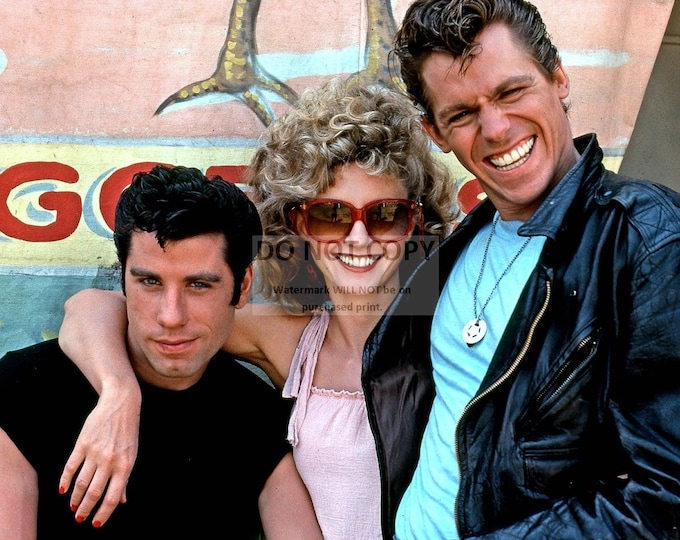 """John Travolta, Olivia Newton-John and Jeff Conaway in the Film """"Grease"""" - 8X10 or 11X14 Publicity Photo (OP-057)"""