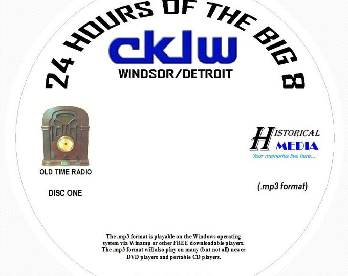 "AIRCHECK CKLW, Windsor/Detroit - ""24 Hours Of The Big 8"" - 06/29/73 On 2 MP3 CDs"