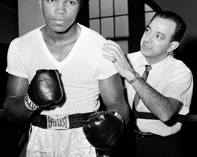 Boxer Cassius Clay With Trainer Angelo Dundee in 1962 Muhammad Ali - 5X7, 8X10 or 11X14 Publicity Photo (ZY-151)
