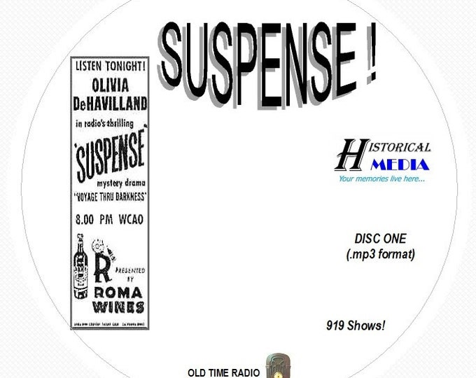 SUSPENSE! - 919 Shows of Old Time Radio In MP3 Format OTR On 11 CDs