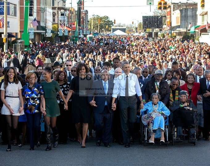 Barack Obama & John Lewis Walk Across Edmund Pettus Bridge on 50th Anniversary of Bloody Sunday in 2015 - 5X7, 8X10 or 11X14 Photo (ZZ-995)