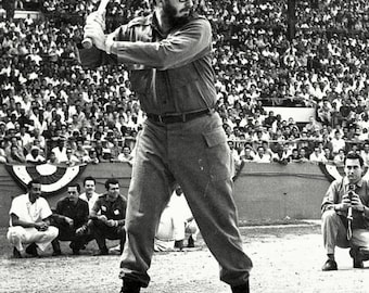 Cuban Prime Minster Fidel Castro Plays Baseball in Havana in 1959 - 5X7 or 8X10 Photo (OP-029)