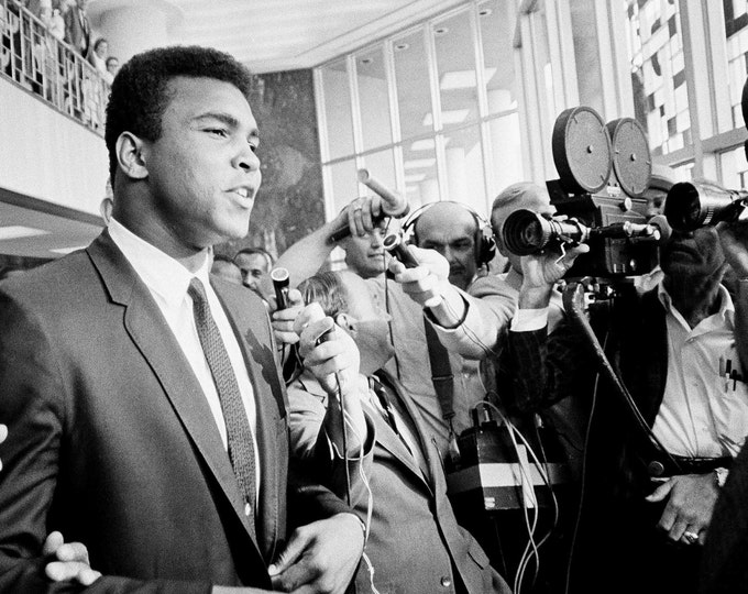 """Muhammad Ali Says """"No Comment"""" to Reporters at Recess of 1967 Federal Trial in Houston, Texas - 5X7, 8X10 or 11X14 Photo (ZY-139)"""