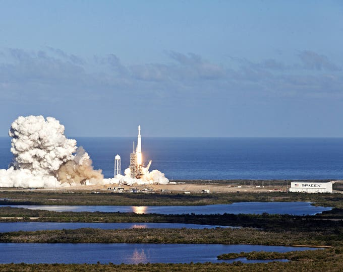SpaceX Falcon Heavy Lift Off from Launch Pad 39A at the Kennedy Space Center - 5X7, 8X10 or 11X14 NASA Photo (AB-651)