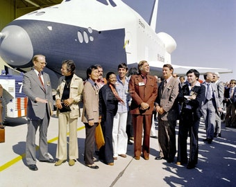 Star Trek Cast Members Stand Next to the Space Shuttle Enterprise - 5X7, 8X10 or 11X14 NASA Photo (EP-532)
