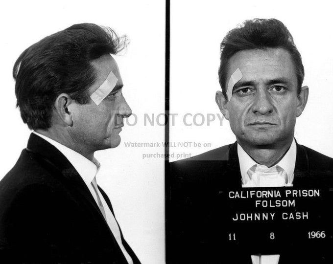 "Johnny Cash ""Mug Shot"" at Folsom Prison in 1966 - 8X10 or 11X14 Publicity Photo (AB-144)"