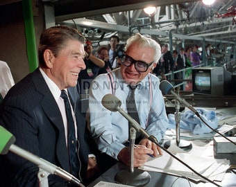 President Ronald Reagan in the Press Box with Chicago Cubs Play-by-Play Man Harry Caray in 1988 - 5X7, 8X10 or 11X14 Photo (DD-161)
