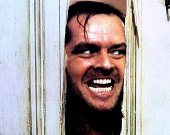"Jack Nicholson in the Film ""The Shining"" Saying the Famous Line From the Movie ""Here's Johnny"" - 8X10 or 11X14 Publicity Photo (AA-714)"