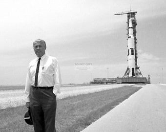 Dr. Wernher Von Braun Standing in Front of the Apollo 11 Saturn V Rocket at Kennedy Space Center - 5X7, 8X10 or 11X14 NASA Photo (DA-362)