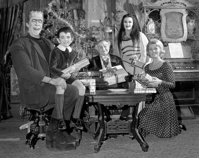 "Cast from the TV Show ""The Munsters"" - 5X7, 8X10 or 11X14 Christmas Publicity Photo (OP-991)"