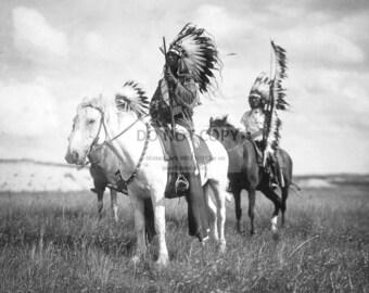 Sioux Chiefs on Horseback Circa 1905 by Photographer Edward S. Curtis - 5X7, 8X10 or 11X14 Photo (AB-618)