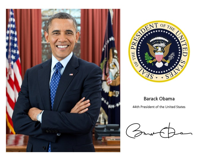 President Barack Obama With the Presidential Seal and His Signature* - 8X10 or 11X14 Photo (RP-116)
