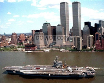 USS John F. Kennedy With the World Trade Center in Background in May 1996- 8X10 Photo (ZZ-606)