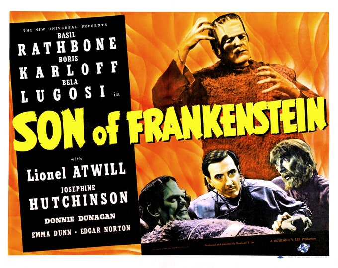 "Lobby Card From the Film ""Son of Frankenstein"" Starring Basil Rathbone and Boris Karloff (Reproduction) - 8X10 or 11X14 Photo (MP-010)"