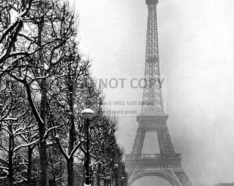 The Eiffel Tower in Paris Snow During the Winter of 1948 - 5X7, 8X10 or 11X14 Photo (AB-267)