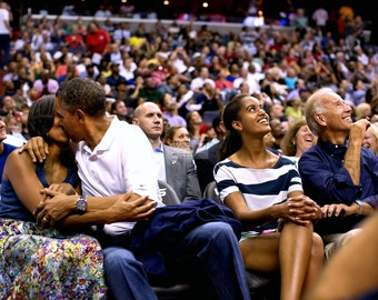 """President Barack Obama & First Lady Michelle on the """"Kiss Cam"""" at a Basketball Game in Washington, D.C. - 5X7, 8X10 or 11X14 Photo (DD-088)"""