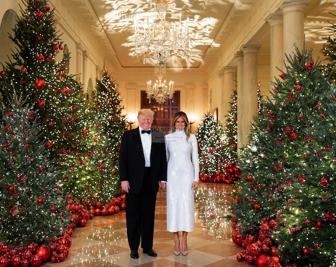 President Donald Trump and First Lady Melania Trump 2018 Christmas Portrait - 5X7, 8X10 or 11X14 Photo (RT-406)