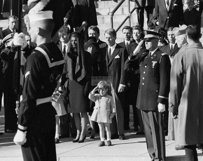 John F. Kennedy, Jr. Salutes the Coffin of His Father, the Assassinated President on November 25, 1963 - 5X7, 8X10 or 11X14  Photo (AA-138)