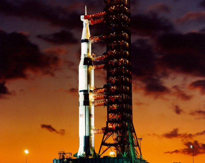 Early Morning View of the Apollo 4 Saturn V on Launch Pad A at the Kennedy Space Center - 5X7, 8X10 or 11X14 NASA Photo (AA-532)