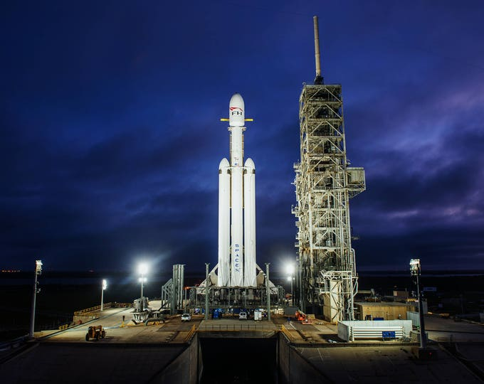 SpaceX Falcon Heavy at Launch Pad 39A at the Kennedy Space Center - 8X10 or 11X14 NASA Photo (AB-584)