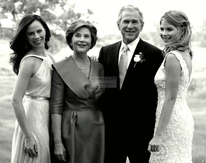 President George W. Bush with First Lady Laura Bush & Daughters Pre-Wedding - 8X10 or 11X14 Photo (BB-901)