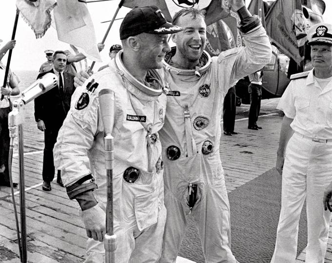 Astronauts Jim Lovell and Buzz Aldrin on the U.S.S. Wasp After Gemini 12 Splashdown - 5X7, 8X10 or 11X14 Photo (EP-498)