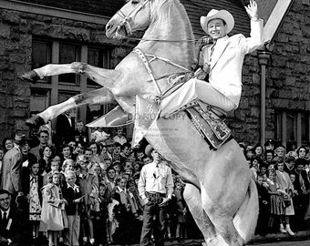 Roy Rogers and His Horse Trigger Singing Cowboy and Actor - 5X7 or 8X10 Publicity Photo (EP-013)