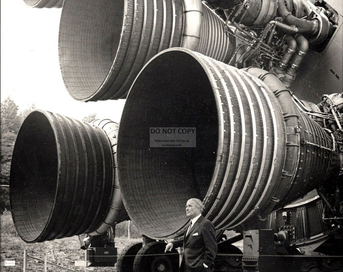 Wernher Von Braun Stands by the Engines of the Saturn V on Display at the U.S. Space and Rocket Center - 8X10 or 11X14 NASA Photo (EP-346)