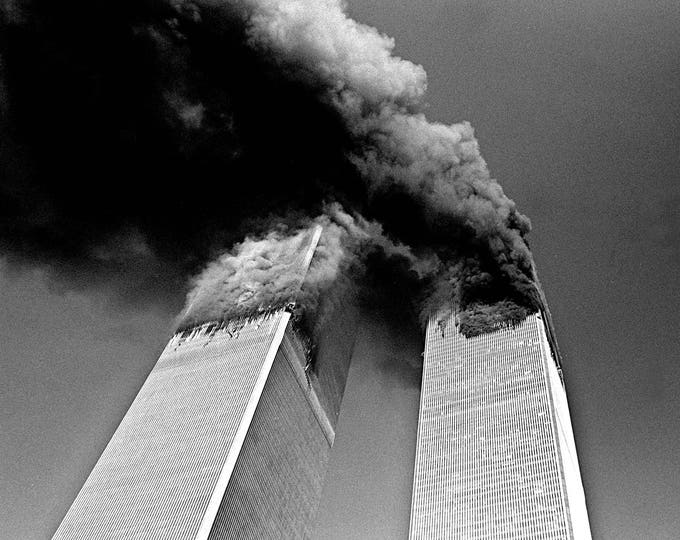 World Trade Center North and South Towers on Fire on September 11, 2001 - 5X7, 8X10 or 11X14 Photo (AA-110)