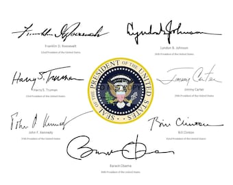 The Presidential Seal Surrounded By The Signatures* of the Last 7 Democratic Presidents of the United States - 8X10 or 11X14 Photo (RP-084)