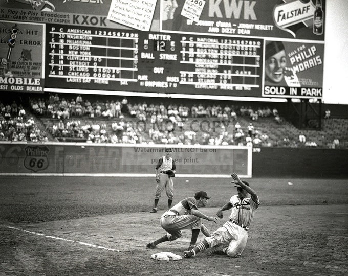 Stan Musial Hall of Fame Baseball Player for the St. Louis Cardinals Slides In Third Base at Sportsman's Park in 1941 - 8X10 Photo (EP-616)