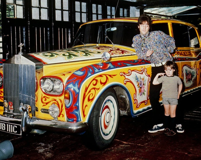 John Lennon and Son Julian with Psychedelic Rolls Royce Phantom V - 5X7, 8X10 or 11X14 Photo (OP-059)