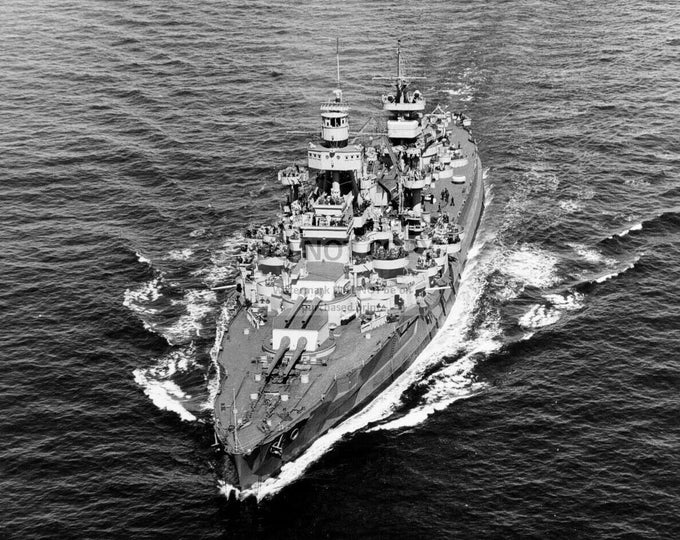 USS Arkansas Battleship off the East Coast in 1944 - 8X10 or 11X14 Navy Photo (SP198)