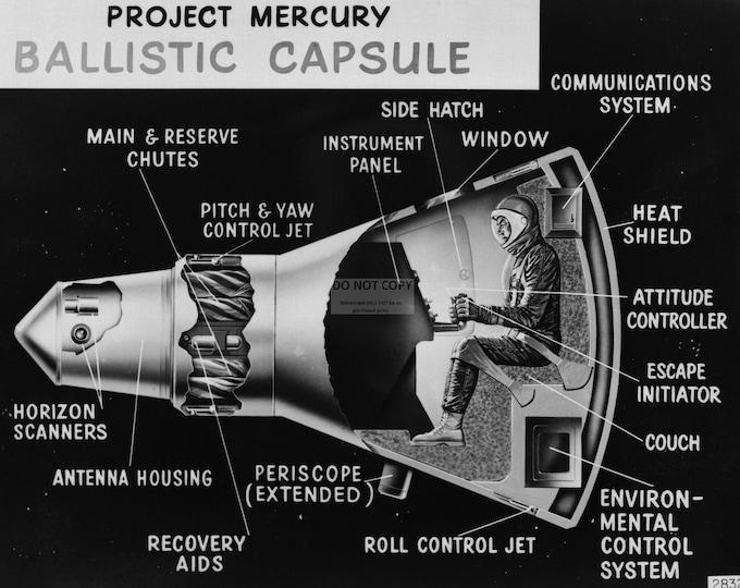 Project Mercury Capsule Cutaway Drawing - 8X10 NASA Photo (AA-243)