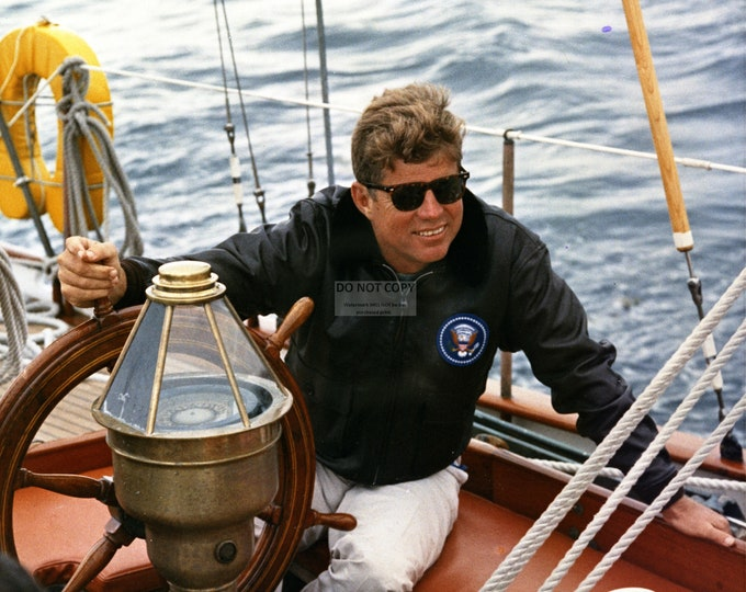 "President John F. Kennedy Sailing Off the Coast of Maine on the Yacht ""Manitou"" - 5X7, 8X10 or 11X14 Photo (AA-884)"