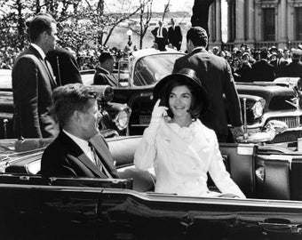 President John F. Kennedy & Wife Jacqueline in Motorcade During Arrival Ceremonies for King of Morocco - 5X7, 8X10 or 11X14 Photo (BB-139)