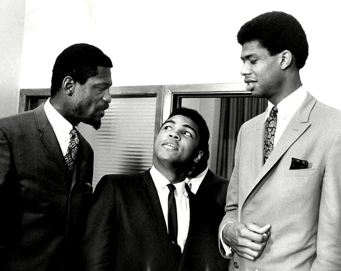 Three Sports Legends: Bill Russell, Muhammad Ali and Kareem Abdul-Jabar in 1967 - 5X7, 8X10 or 11X14 Publicity Photo (ZY-166)
